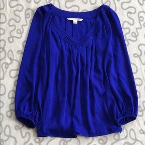 Diane Von Furstenburg Blue Silk Blouse